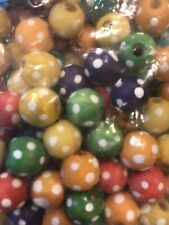 Colorful Round Wooden Beads Polka Dot Kids Craft
