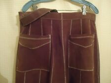 Women's Brown Suede Leather Zigzag Stitch Wrap Skirt Made in Mexico Size 11