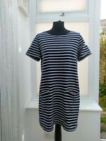 Joules Blue and White striped Riviera tunic dress with pockets cotton 16 LEOPL