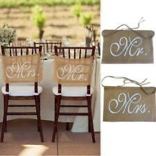 Mr & Mrs Chair Signs Rustic Burlap Chair Banner Hessian DIY Wedding Party Decor