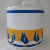 Vintage Ice Bucket Georges Briard Sailboat Yellow Blue Acrylic 1960s Signed MCM