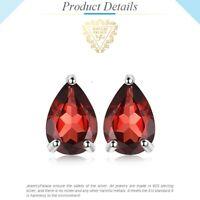 1.8ct Pear Genuine Garnet Stud Sterling Silver Earrings UK Seller