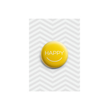 Happy Button Badge Smile Bright Colourful Delighted Sunny Gift 38mm Plastic