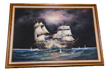 J. Harvey Nautical Oil on canvas painting  framed signed by Artist 40X29