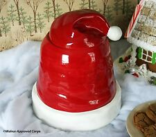 POTTERY BARN SANTA HAT COOKIE JAR -NIB- SURE TO GET YOUR HEAD INTO THE HOLIDAYS!