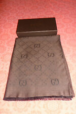 GUCCI WOOL GG PATTERN STOLE COFFEE MADE IN ITALY NWOT ORG $350.00