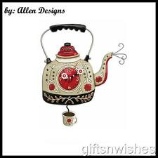 "UNIQUE & QUIRKY ""Kettle's On""  Tea Kettle Designer Pendulum Wall Clock"
