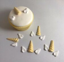 12 Edible Sugarpaste UNICORN HORN AND EARS Cupcake / Cake Toppers BIRTHDAY KIDS