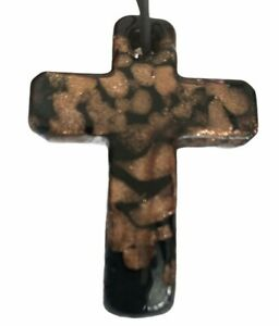 Vintage Cross Pendant Brown Black Glass Necklace Cord Gothic Unisex Jewellery