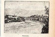 Stampa antica BASSANO del GRAPPA veduta in miniatura Vicenza 1905 Old print
