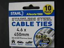 STAINLESS CABLE TIES STAINLESS STEEL * 450mm x 4.6mm * 10 PACK *
