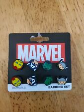 Marvel Comics Captain, Hulk, Thor, Iron man Earring Set by Bioworld - 4 pairs