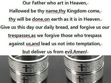 36PCS Silver Stainless Steel Cross W Lord's Prayer in English Ring