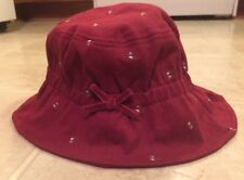 Gymboree 5-7 Dark Red Crimson Hat with embroidered flowers 6-6x