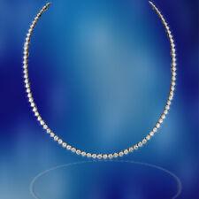 DIAMOND TENNIS NECKLACE 3 PRONG SET ROUND BRILLIANT TENNIS 24.88 CT 18 K GOLD