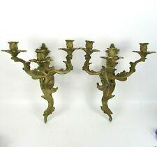 Vintage Ornate Candle Sconces Victorian Style Glo-Mar Art Pair Cast Aluminum NY