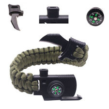 Hand-made Outdoor Camping Survival Knife Bracelet Paracord Gear Compass Whistle