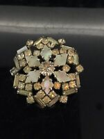 Vintage Brooch Pin Mother of Pearls Glass Paste Stones Art Deco Style C.1940s