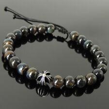 Charged Gemstones Bracelet Rare Mixed Blue Tiger's Eye Deep Healing Cross Bead