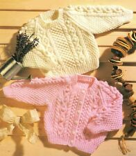 Knitting Pattern Baby/Child's Aran Cable Raglan Sweater & Cardigan 41-56 cm (99)