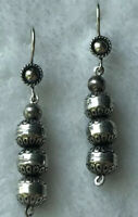 #881 Sterling Silver Stamped 925 Bench Beads, Navajo Handmade Concho Earrings