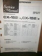 Pioneer CX-152/A  CX-152B Cassette Mechanism Unit Manual, Schematics.