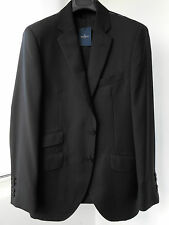 New HACKETT LONDON black English wool Plain CHELSEA tailored suit 40R/50R RRP545