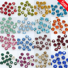 100p 5mm faceted crystal Sew On glass cup Rhinestones Montees silver claw jewels