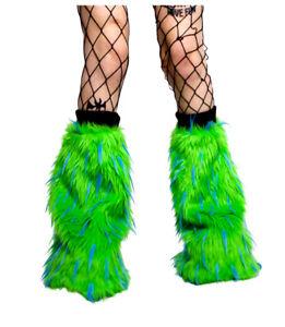 CYBERLOXSHOP GREEN LIGHT BLUE FLUFFY LEG WARMERS FLUFFIES NEON UV RAVE CLUBWEAR