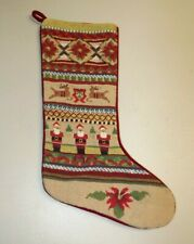 """Handcrafted 15"""" Holiday Embroidered Multi Color Christmas Stocking Win-tex Co."""