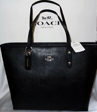 Coach Zip Top City Tote Shoulder Bag Black Crossgrain Leather Nwt New $295 58846