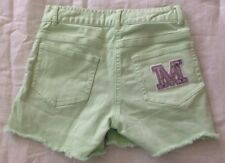 Girls Lime Green Jean Shorts Sz L 10/12 Monogram Letter M Sequins Frayed Cut Off