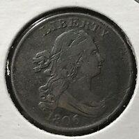 1806 DRAPED BUST HALF CENT SMALL 6 NO STARS SCARCE COIN