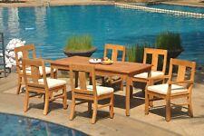 "7pc Grade-A Teak Dining Set 71"" Rectangle Table 6 Osborne Chair Outdoor Patio"