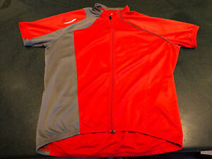 SPECIALIZED Short Sleeve Cycling Jersey Shirt Red Gray Full Zip XXL 2XL Bike