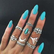 9pcs/set Boho Knuckle Midi Finger Ring Elephants Lotus Flower Carved Totem