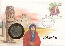 superbe enveloppe MEXIQUE MEXICO pièce monnaie 1 PESO 1981 UNC NEW NEUF timbre