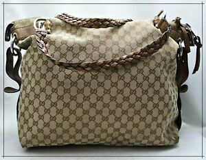 GUCCI Monogram Canvas XLarge BAMBOO DOUBLE BRAIDED HANDLE Shoulder Bag