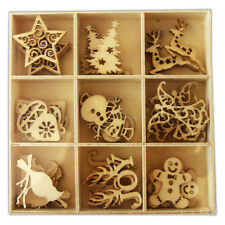 Pack 45 Mixed Wooden Christmas Shapes embellishments great for cards & crafts