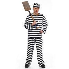 Mens Classic Stag Jailbird Con Prisoner Inmate Full Fancy Dress Costume Plus XL