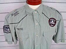 Brooklyn Xpress Men's Large Pearl Snap Shirt Short Sleeve Rockabilly Plaid