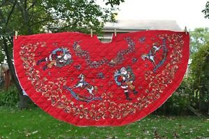 """Double sided quilted fabric panel, cut half-circle Christmas tree skirt 58 x 31"""""""