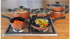 IN-HOME Supertherm Black Ceramic Copper Style Cookware 10 Piece set
