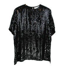 Womens 1X Sequin Top Blouse Plus Size Black 100% Silk Tunic Sparkle Xmas Holiday