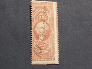 US Rev Stamp Cat#R44b Partial Perf  25c Certificate - Signature Cancel Free Ship