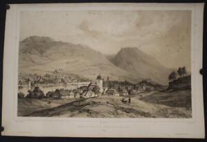 BERGEN NORWAY 1842 LEMERCIER ANTIQUEORIGINAL  LITHOGRAPHIC CITY VIEW