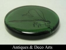 Green Glass Paperweight with Dragonfly
