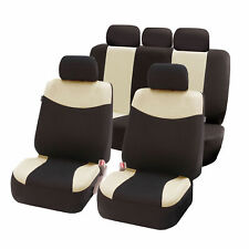 Flat Cloth Universal Fit Seat Covers for Cars SUV Auto Full Set Beige Black