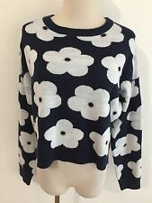 Knit Wear Australia Cropped Crewneck Sweater Navy w/White & Pink Floral Sz M