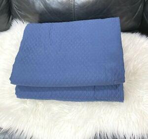 Fieldcrest Diamond Matelasse 100% Cotton Blue KING Coverlet